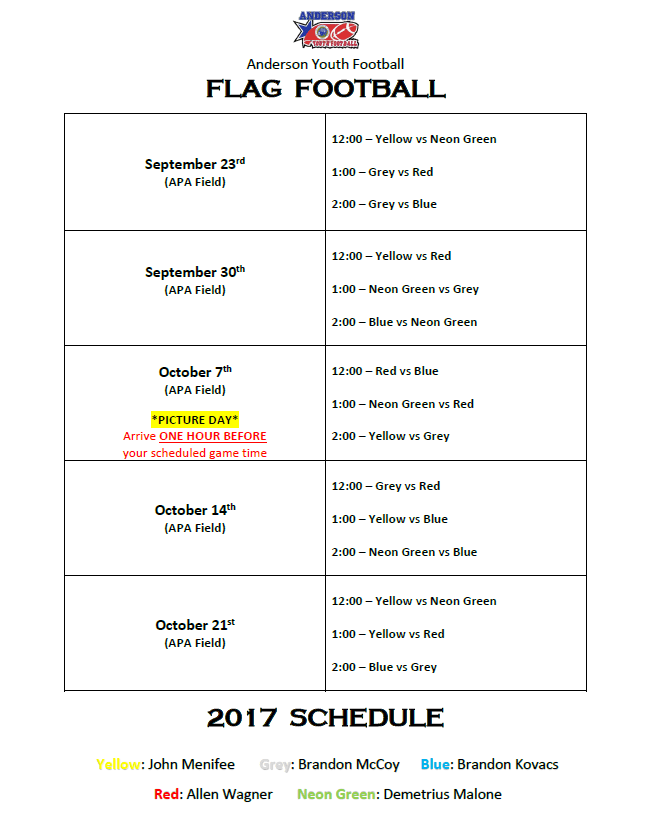 Flag Game Schedule 2017 AYFL