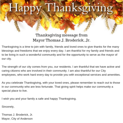 Mayors Thanksgiving Message